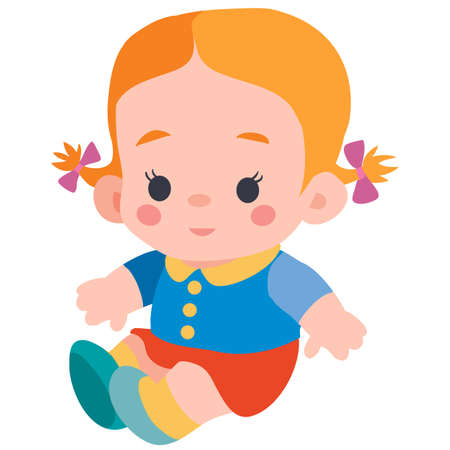 cute doll with pigtails sitting on the floor, flat, isolated object on a white background, vector illustration Иллюстрация