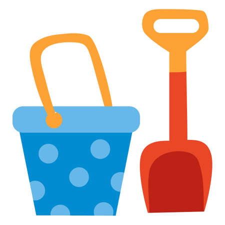 set of buckets and dustpan for playing in the sandbox for children, toy, flat, isolated object on a white background, vector illustration