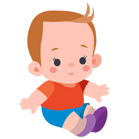 cute doll boy sitting on the floor, flat, isolated object on a white background, vector illustration