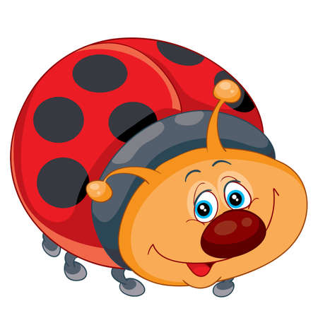 cute ladybug character, cartoon illustration, isolated object on a white background, vector illustration