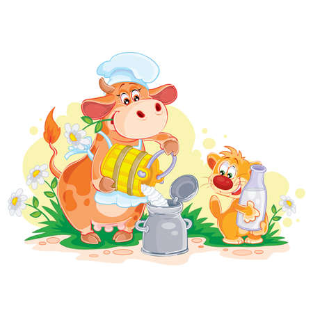 cute cat character holds in its claws a large bottle of milk, a cow in a cap happily distributes milk from the tank, cartoon illustration, isolated object on a white background, vector illustration Ilustracja