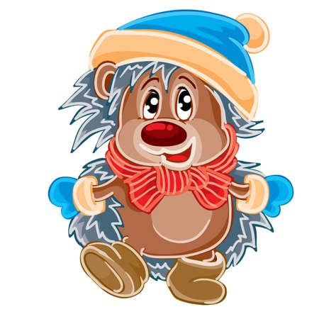 cute hedgehog character wearing a mittens hat and scarf, cartoon illustration, isolated object on a white background, vector illustration
