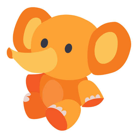 cute toy elephant in yellow sits on the floor, isolated object on a white background, vector illustration Ilustracja