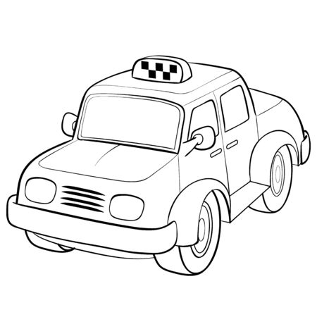 taxi car sketch, cartoon illustration, isolated object on a white background, vector illustration, eps