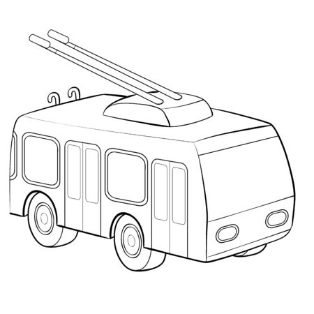 Colouring page. Cute cartoon tram. Electric trolley car on railroad. Childish design for kids coloring book.