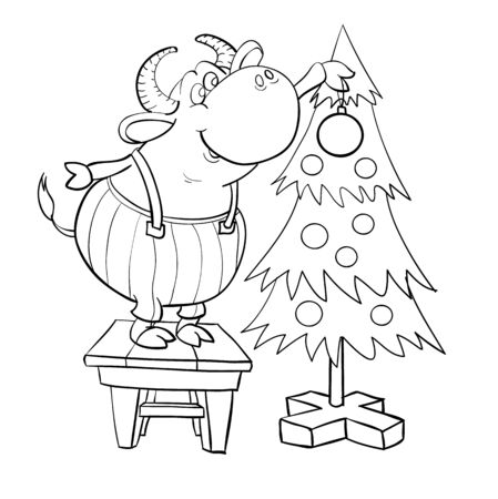 a bull in trousers with suspenders stood on a stool and decorates a Christmas tree, cartoon illustration, sketch, coloring Stock Illustratie