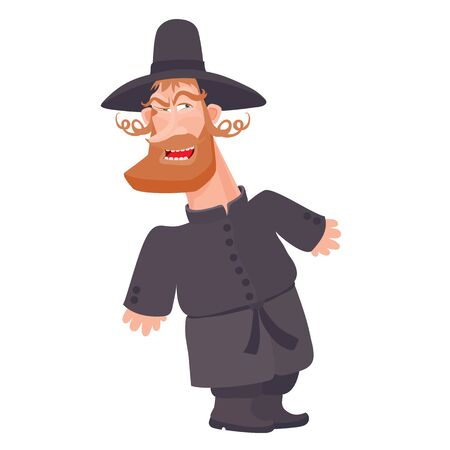 hasid jewish in camisole and big hat, isolated object on white background, vector illustration