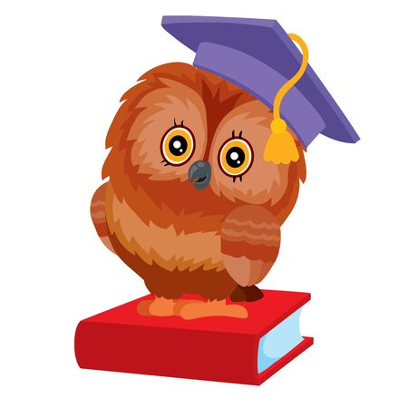 the owl has a student hat on her head and she is sitting on a red book, isolated object on a white background, vector illustration