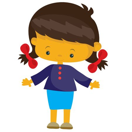 girl with pigtails in flat style, isolated object on a white background, vector illustration