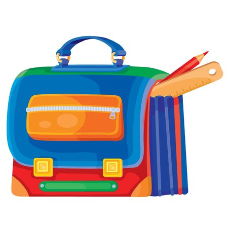 cute school bag in different colors from which a ruler and pencil stick out, isolated object on a white background, vector illustration