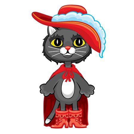 chat de personnage de conte de fées en bottes dans une cape rouge et un chapeau avec une plume, illustration de dessin animé, objet isolé sur fond blanc, illustration vectorielle, eps