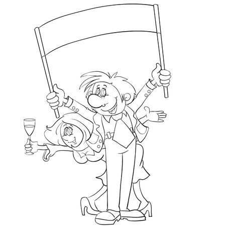 sketch, man holding a poster, woman holding a glass of champagne, they congratulate someone on a holiday, cartoon illustration, coloring, isolated object on a white background, vector illustration, eps  イラスト・ベクター素材