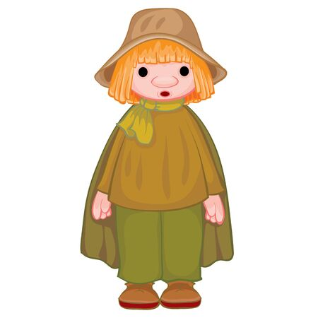 peasant in a gray hat and black cloak, doll, isolated object on a white background, vector illustration Vecteurs