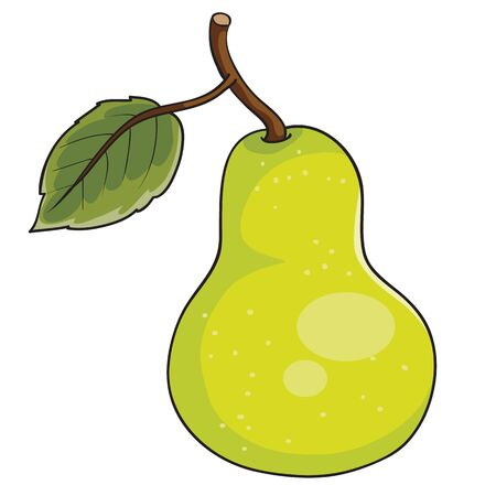 ripe pear with a leaf on a handle, cartoon illustration, isolated object on a white background, vector illustration, eps