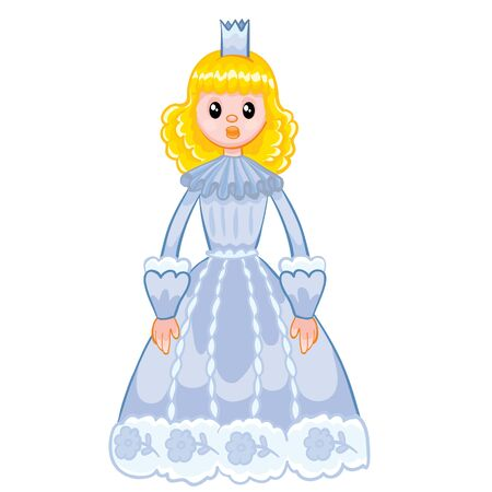 princess with a crown and in a blue beautiful dress, doll, cartoon illustration, isolated object on a white background, vector illustration