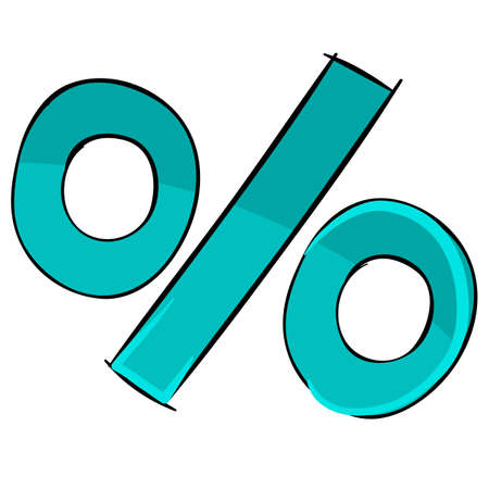 percent sign painted in turquoise color, typography, cartoon illustration, isolated object on a white background, vector illustration Ilustracja