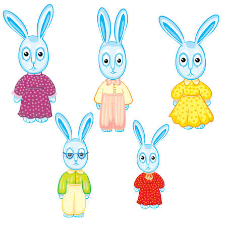 set of hares of children who are dressed in different clothes, isolated object on a white background, vector illustration