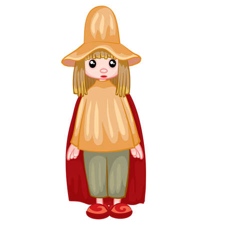 peasant in a gray hat and black cloak, doll, isolated object on a white background, vector illustration