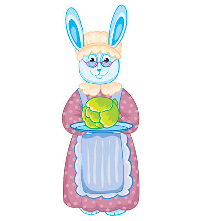 hare granny in a cap and apron holds a tray with a head of cabbage in his hands, isolated object on a white background, vector illustration Vectores