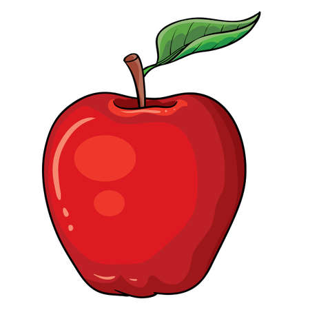 red appetizing apple with a green leaf on the handle, isolated object on a white background, vector illustration Ilustracja