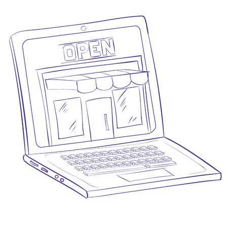 sketch shop with a showcase in a laptop. e-commerce, cartoon illustration, isolated object on a white background.