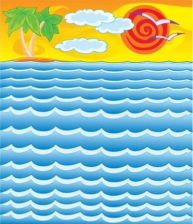 seascape with palm trees on the horizon and red sun, vector illustration, cartoon illustration, eps Vectores