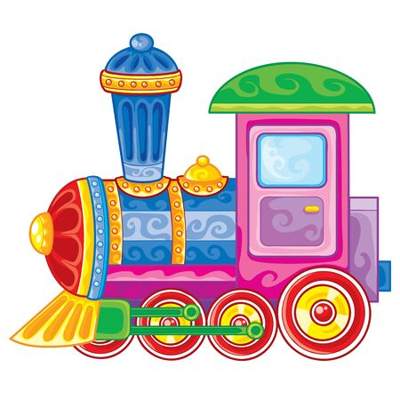 toy steam engine colored, isolated object on a white background, vector illustration, cartoon illustration, eps Vector Illustration