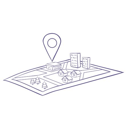 map guide with navigation, isolated object on a white background, vector illustration, eps