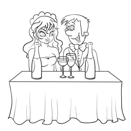 sketch bride and groom are sitting at the table, on the table is a bottle of champagne and glasses, isolated object on a white background, vector illustration 矢量图像