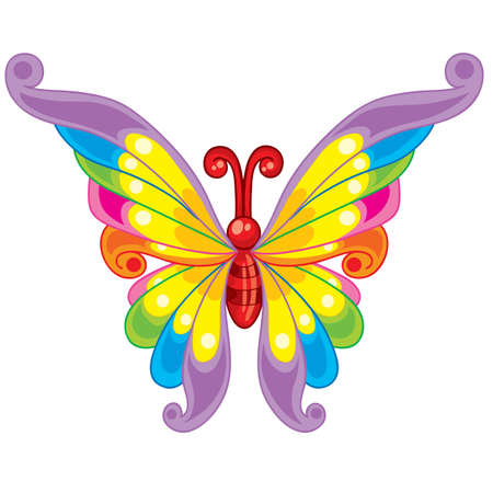 swing butterfly, cartoon illustration, isolated object on a white background, vector illustration