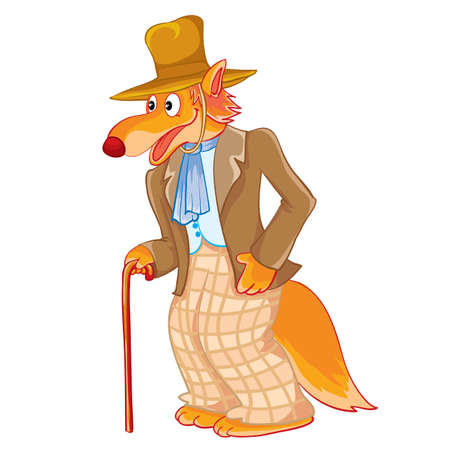wolf gentleman in checkered pants with a hat and a cane in his hands, isolated object on a white background, vector illustration