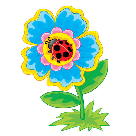 beautiful blue flower in the center of which a ladybug is sitting, cartoon illustration, isolated object on a white background, vector illustration