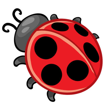 ladybug red with black dots, cartoon illustration, isolated object on a white background, vector illustration