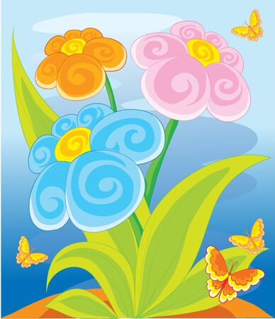 blue background with colorful flowers and butterflies, cartoon illustration, isolated object on a white background, vector illustration, eps