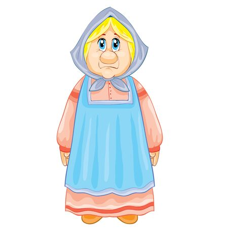 old grandmother in a long dress and with a scarf on her head, fairy tale character, isolated object on a white background, vector illustration, eps