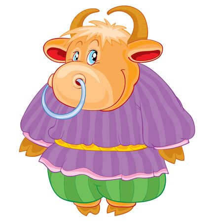cute bull character in pants and shirt, fairy tale character, cartoon illustration, isolated object on a white background, vector illustration, eps