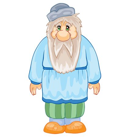 grandfather with a beard in a hat and with bast feet, fairy tale character, isolated object on a white background, vector illustration, eps