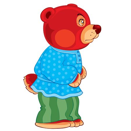 cute bear character in pants and shirt, fairy tale character, cartoon illustration, isolated object on a white background, vector illustration, eps Illustration