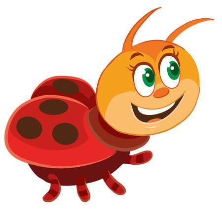 cute ladybug character cartoon illustration, isolated object on a white background. vector illustration