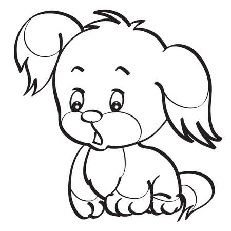 sketch of a cute puppy with big ears coloring isolated object on a white background. vector illustration