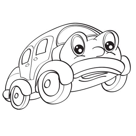 car character with big eyes, sketch, coloring, isolated object on a white background, vector illustration, eps