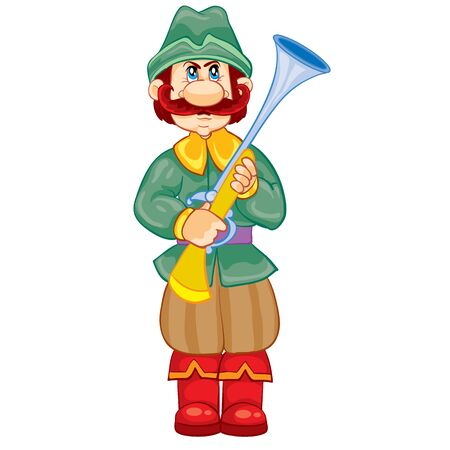 hunter with a gun in his hands, vintage, fairy tale character, cartoon illustration, isolated object on a white background, vector illustration, eps