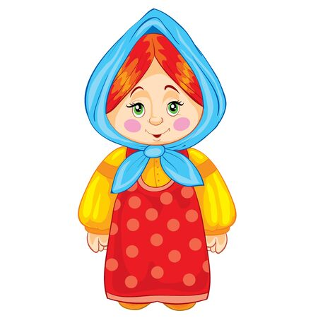 little girl with a scarf on her head and in an old dress someone daughter or granddaughter, fairy tale character, isolated object on a white background, vector illustration, eps 矢量图像