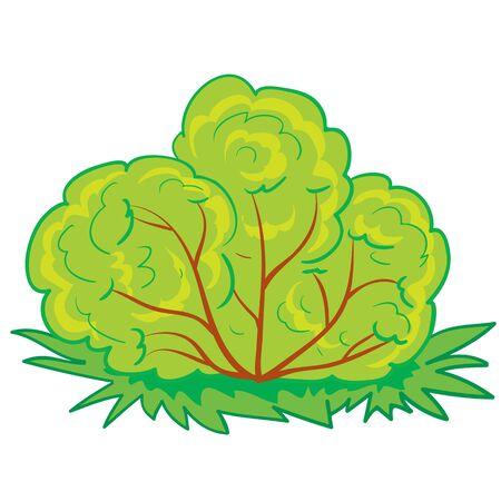 green bush, cartoon illustration, isolated object on a white background, vector illustration, eps