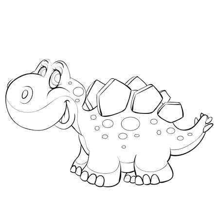 sketch of a cute dinosaur coloring book cartoon illustration. isolated object on a white background, vector illustration.