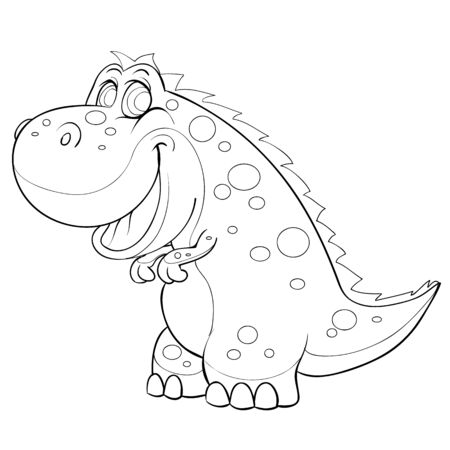 sketch of a cute dinosaur, coloring book, cartoon illustration, isolated object on a white background, vector illustration, eps