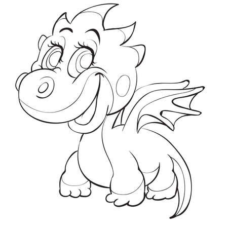 sketch of a cute dragon with small wings coloring book, cartoon illustration. isolated object on a white background. vector illustration  イラスト・ベクター素材