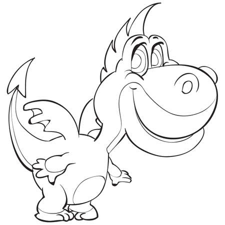 sketch of a cute dragon with small wings coloring book cartoon illustration. isolated object on a white background. vector illustration  イラスト・ベクター素材