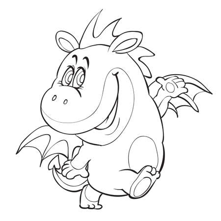 sketch of a cute dragon with small wings coloring book cartoon illustration. isolated object on a white background vector illustration  イラスト・ベクター素材