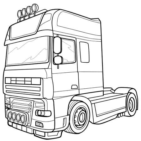 sketch of a large truck without a trailer cabin only, coloring, illustration on a white background, vector illustration